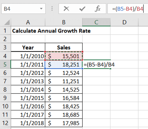 Annual Growth Rate in Excel