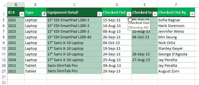 Multiple filters in excel