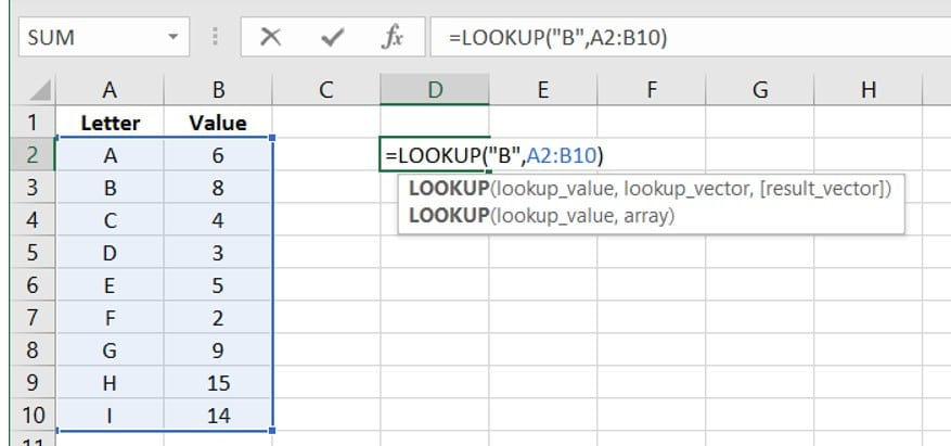 Use a letter to Represent a Value in Excel