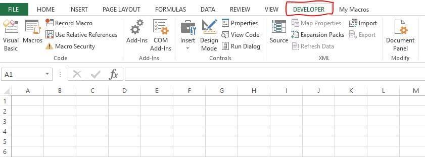 Developer Tab Excel