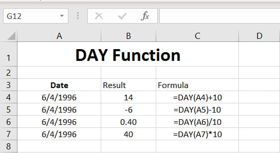 DAY Function Examples