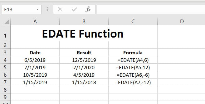 EDATE Function in Excel