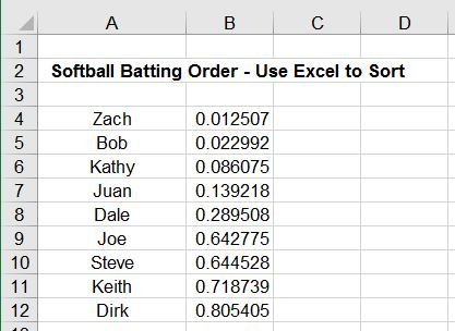 Randomly Sort Data in Excel