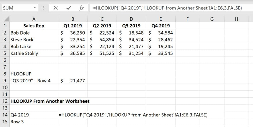 HLOOKUP Function in Excel from another sheet.