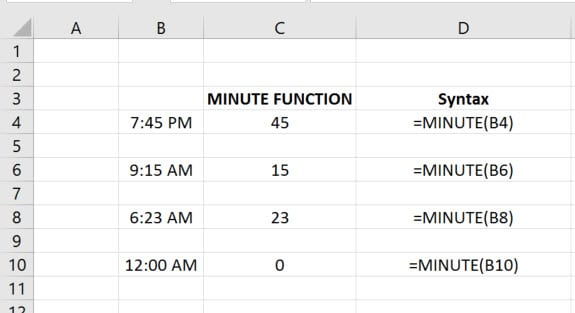 MINUTE Function