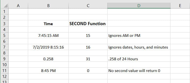 SECOND Function usage Examples