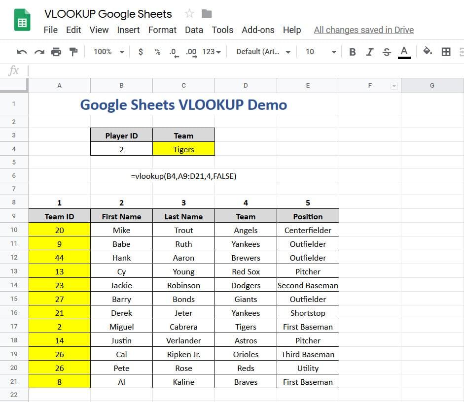 VLOOKUP Google Sheets Demo
