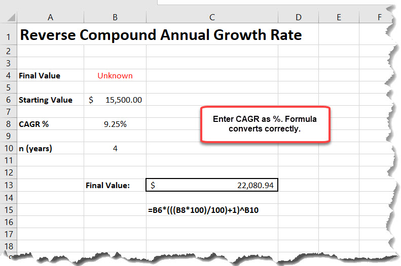 Reverse Compound Annual Growth Rate