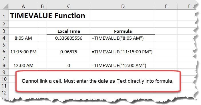 TIMEVALUE Function