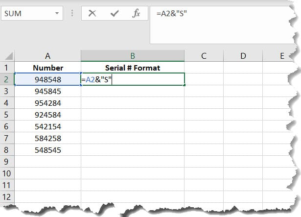 Add Letter to End Number in Excel