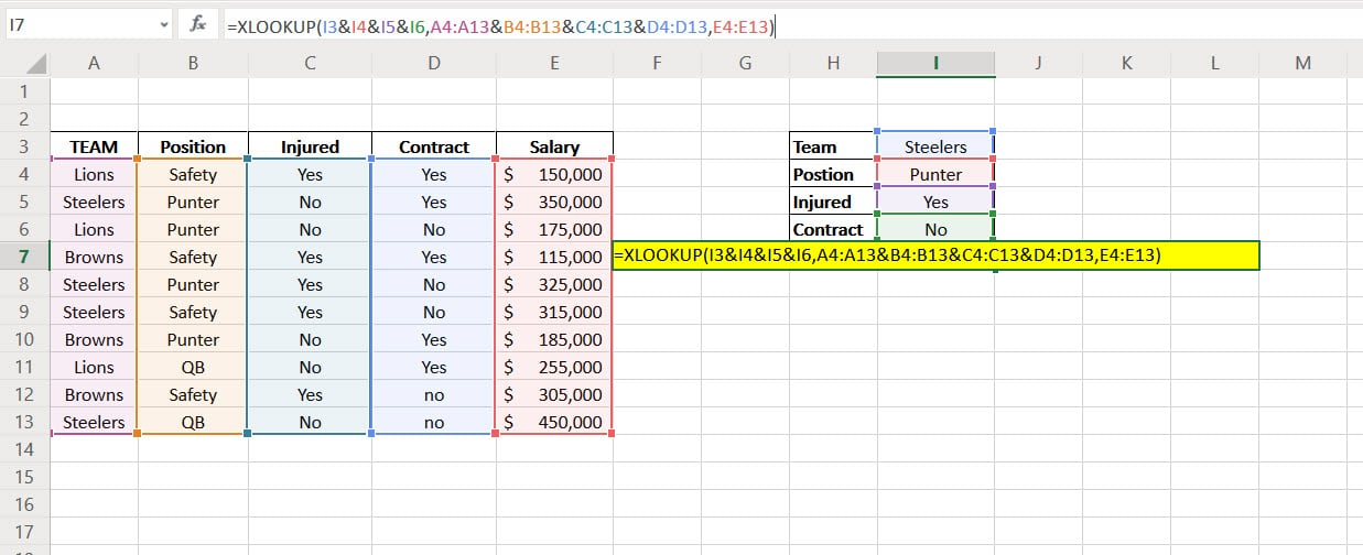 XLOOKUP Multiple Criteria