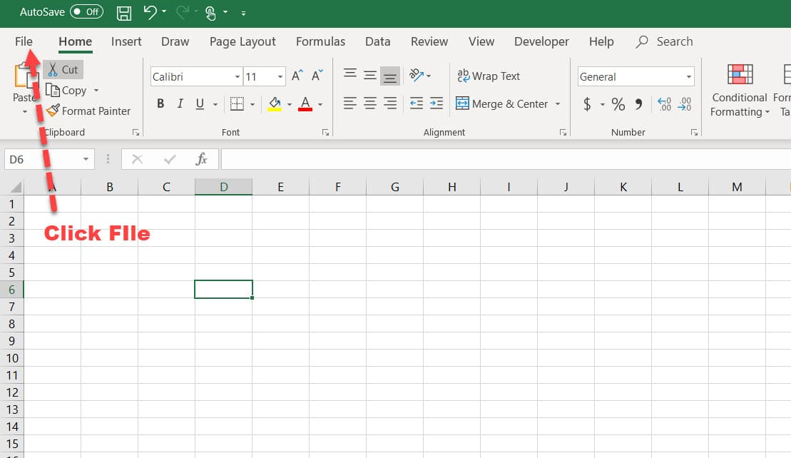 Click File in Excel